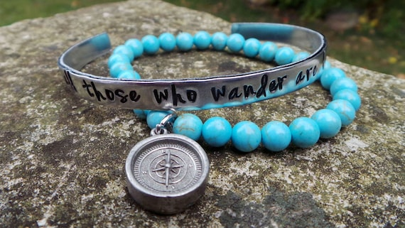 Wanderlust Hand Stamped Gemstone Bracelet, not all those who wander are lost bracelet