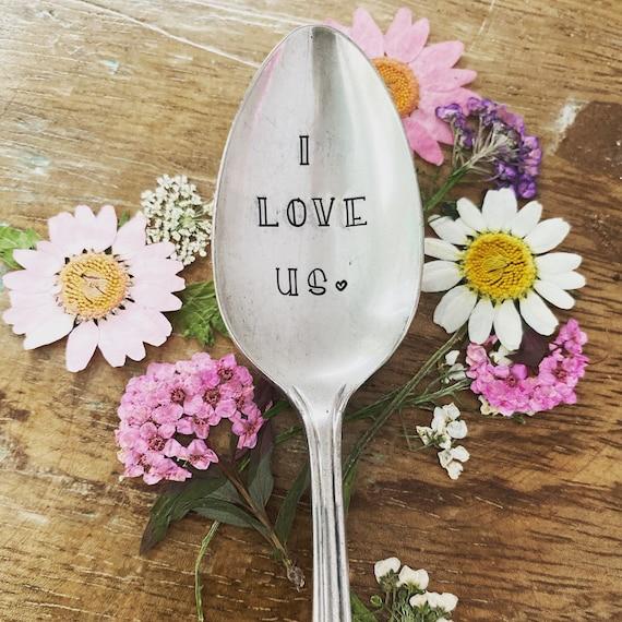 "Hand Stamped ""I love us"" Vintage Spoon, spoon, family spoon, love, stamped spoon, teaspoon, I love us family"
