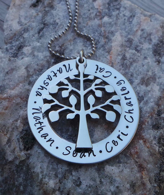 Hand Stamped Stainless Steel Tree of LIfe Family Necklace