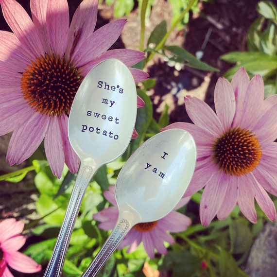 Couples Hand Stamped Vintage spoon set, sweet potato