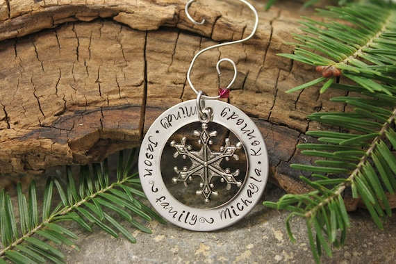 Family All Around Holiday Christmas Hand Stamped Ornament - Personalized Ornament