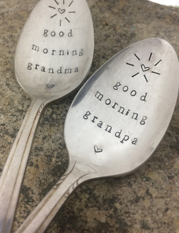 "Hand Stamped ""Good Morning Grandma"" ""Good Morning Grandpa"" Vintage Tea Spoon Set"