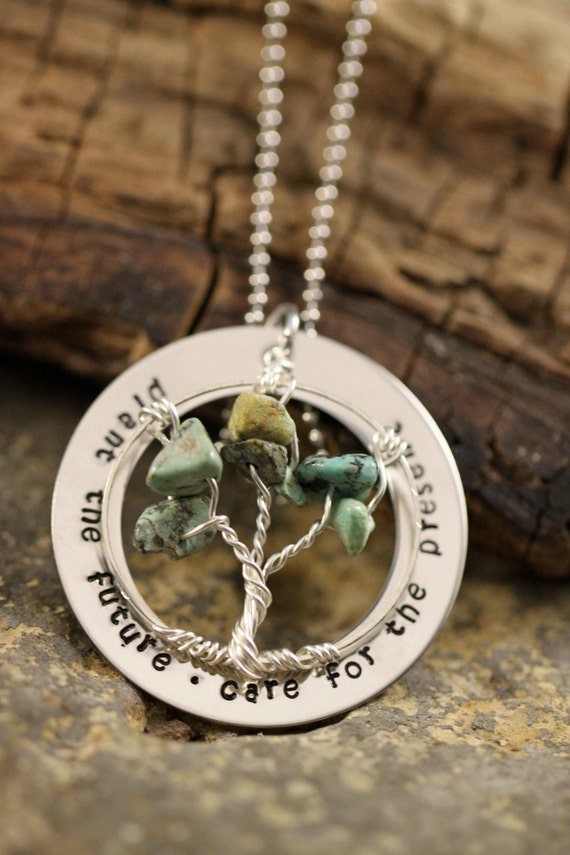 Teacher or Daycare Provider Tree Of LIfe celebration Hand stamped necklace