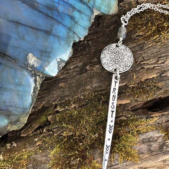 Hand stamped vintage fork tine necklace