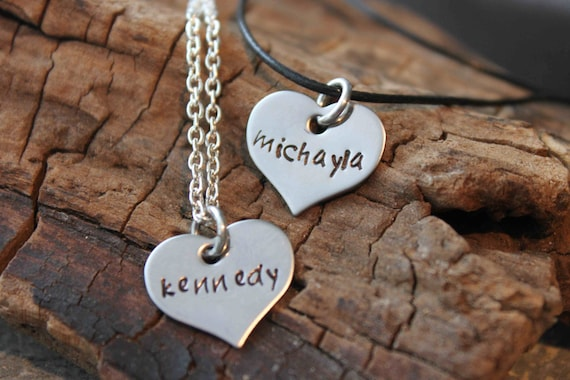 Little Sweetheart hand stamped necklace, Tiny Heart Hand Stamped Necklace
