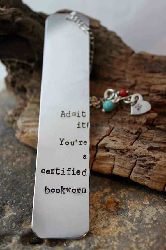Hand Stamped Book Mark, custom personalized metal bookmark with beads