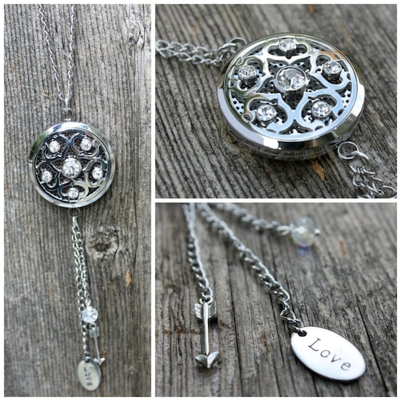 Gorgeous Crystal and Stainless Steel Essential Oil Diffusing Necklace With Hand Stamped Details
