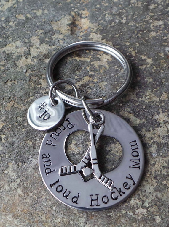 Hand Stamped Hockey Mom Key Chain, Proud and Loud Hockey Mom Key Chain