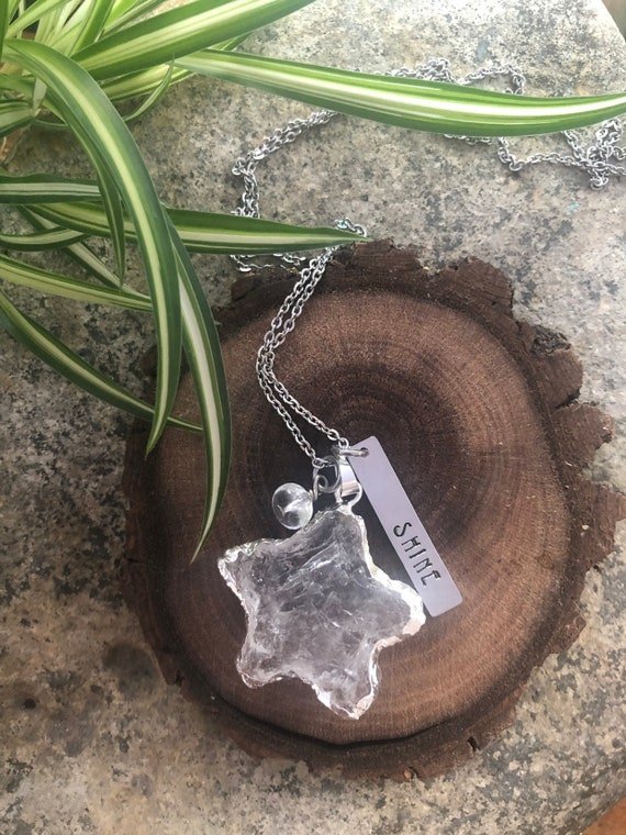 Quartz Heart SHINE Hand Stamped Necklace