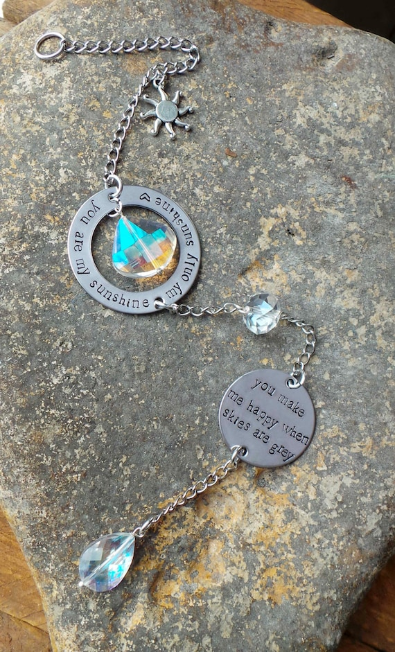 Hand Stamped Window Charm, Personalized crystal sun catcher, window dangle, rear view mirror charm