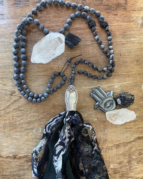 Vintage Knife Tassel Beaded Necklace, Beaded Tassel Necklace, Vintage silverware necklace, Larvikite
