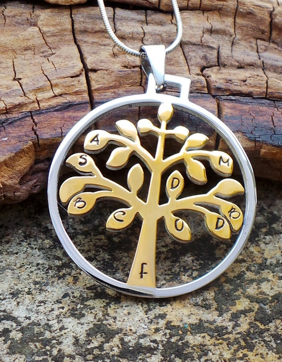 Gold and Silver Stainless Steel Hand Stamped Family Tree of Life Necklace, family tree necklace