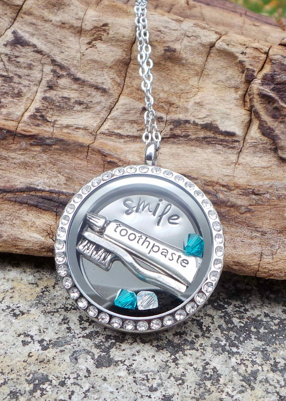 Dentist or Hygienist Hand Stamped Floating locket Necklace, Floating locket