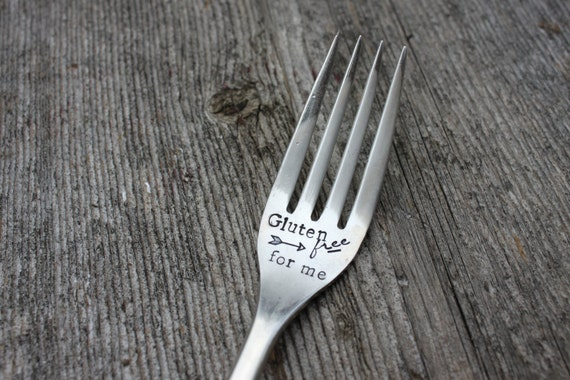 "Hand Stamped ""Gluten Free for ME!!"" fork"