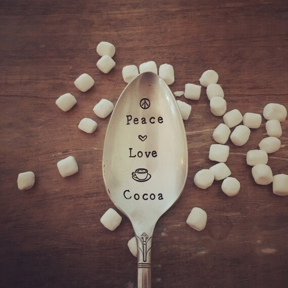"Hand Stamped ""peace, love and cocoa""  Spoon"