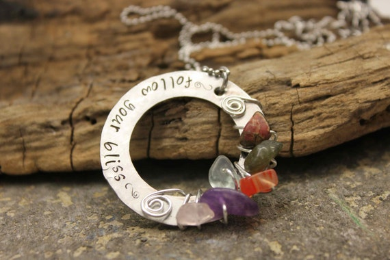 Follow Your Bliss Hand Stamped Necklace with Wire Wrapped Gemstones