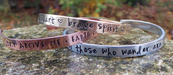 Beautiful Hand Stamped Cuff Bracelet in copper, gold or silver .... Family ...... Adult size