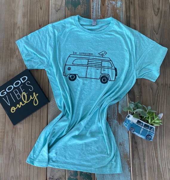 Be Awesome tshirt, Hippie bus t-shirt, stamped frosting shirt, be awesome, tee, tee shirt, t-shirt, mint t-shirt