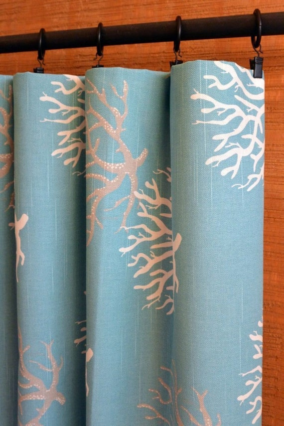 Isadella Coral Coastal Blue, Grey, White, Beach House Curtains on