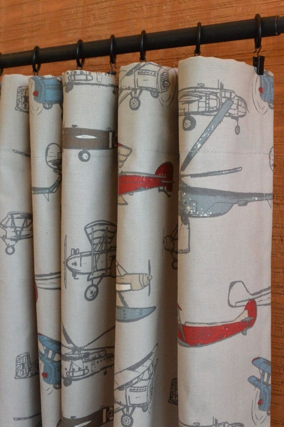 Airplane Curtains Office Curtains Boys Room Decor Nursery Etsy
