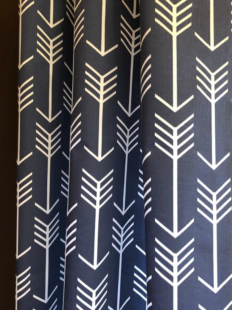 Pair Curtains Arrow Premier Navy White