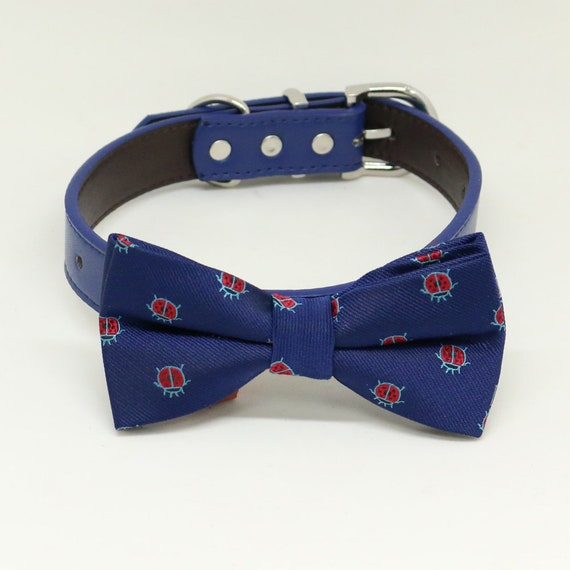 Dog of honor blue Black Gray Brown Ivory Champagne White copper Navy or Gold leather dog collar Champagne bow tie dog collar Dog collar