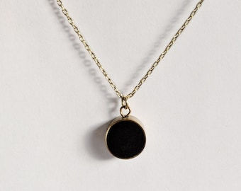 Minimal Matte Black and Brass Circle Pendant, Simple Black and Gold Pendant Necklace