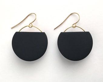 Black and Gold Geometric Circle Dangle Earrings, Minimal Black Dangle Earring, Modern Black Circle Earrings
