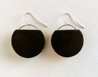 Black and Silver Geometric Circle Dangle Earrings, Minimal Black Dangle Earring, Modern Black Circle Earrings