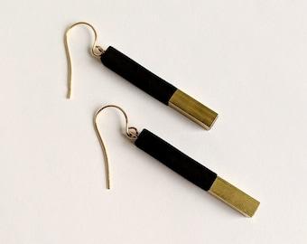 Geometric Black and Brass Dangle Earring, Minimal Matte Black and Gold Drop Earring