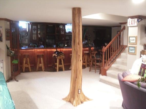 Authentic Rustic Cedar Log Basement, How To Build A Basement Pole Cover