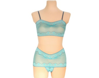 Bra & Panties Lingerie Set - Turquoise Dream  // Undies Bra in playful French Lace handmade of Fransik
