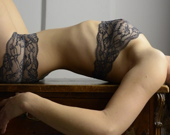Lingerie Set - Woman in Grey // Undies in soft French Lace handmade of Fransik in black grey