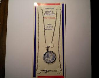 1 U.S. Kennedy Half Dollar Coin Holder Necklace with Kennedy Half
