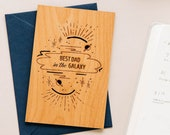 Best Dad in the Galaxy Wood Card [Dad, Christmas, Holiday, Custom Message, Personalized, Wood Card]
