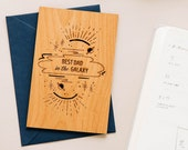 Best Dad in the Galaxy Wood Card [Father's Day / Dad or Father Birthday]