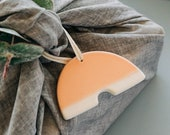 Ceramic Sunrise Arch Ornament – Pastel Orange Hand-Dipped Glaze [Christmas, Holiday, Gift, Wall Decor, Modern, Handmade, Stocking Stuffers]