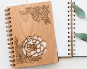 Peonies Wood Journal [Laser Cut, Notebook, Sketchbook, Spiral, Stationery, Blank Pages or Sheets]