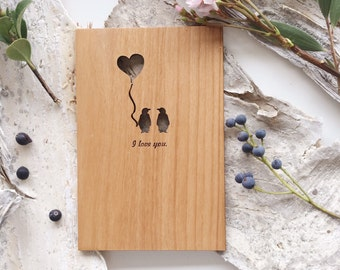 Penguin Love Wood Card [5 Year, Fifth Anniversary, Custom Message, Boyfriend, Girlfriend]