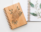 Ranunculus Wood Journal [Notebook, Sketchbook, Spiral Bound, Blank Pages, Gifts for Her, Valentine's Day]