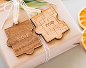 You & Me Puzzle Piece Laser Cut Wood Christmas Ornament [Love, Anniversary, Personalized Gift, Custom Message, Valentine's Day]