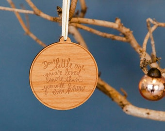 Dear Little One Babys First Christmas Laser Cut Wood Ornament Holiday//New Mom//Tradition