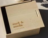 Storybook Large Wooden Custom Keepsake Box [Personalized Gift, Customized, Anniversary, Wedding, New Baby, Memory Box, Wedding Card Box]