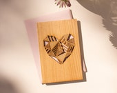 Patchwork Heart Wood Card [Personalized Gifts, Custom Message, Love, Anniversary, Wedding, Birthday, Just Because]