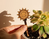 You Are My Sunshine Wood Plant Pick [Plant Markers, Uplifting Plant Tags, Garden Herb Stakes, Funny Puns, Houseplant Gifts, Birthday]