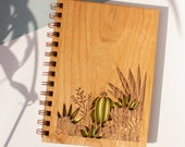 Desert Garden Wood Journal [Notebook, Sketchbook, Spiral Bound, Blank Pages, Gifts for Her, Mother's Day]