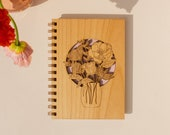 Wildflowers in Mason Jar Wood Journal [Notebook, Sketchbook, Spiral Bound, Blank Pages, Gifts for Her, Mother's Day]