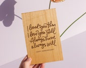 Always Will Anniversary Wood Card [Personalized Gifts, Custom Message, Love, Wedding, Birthday, Just Because]