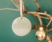 Ceramic Circle Ornament – Seafoam / Mint Green Crackle Hand-Dipped Glaze (Christmas/Holiday/Wall Decor/Modern)