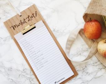 Market List Wood Clipboard